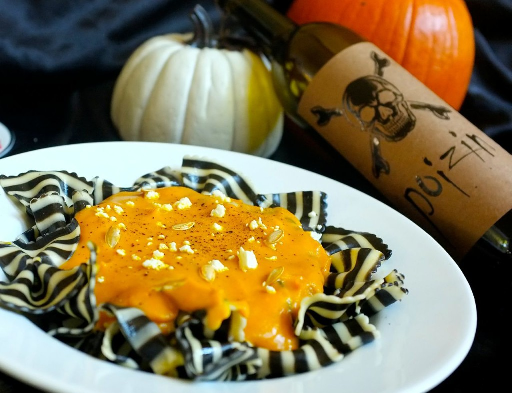 rto butternut squash sauce and black and white bow tie pasta
